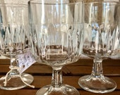 Vintage Libbey Wine or Cocktail Glasses Winchester Duratuff Stemmed Square Cut Glassware Cocktail Glass Set Set of 4 Wine Glasses