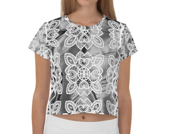 6daa6db980365 White Lace over Silver Crop Tee l Coordinates with Silver Leggings or Shirt  l Printed All-Over on Demand USA