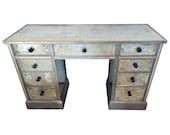 Art Deco Era Mirrored Reversed Paint Decorated Églomisé Desk or Vanity