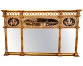 Neoclassical Style Verre Églomisé Overmantel or Console Mirror