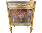 Antique Louis XVI Style Bronze Glass Vitrine Cabinet or Nightstand
