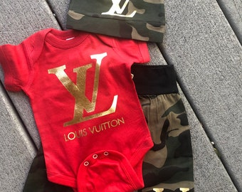 c91cbd9e5dc3 Louis Vuitton Inspired Camouflage Baby Outfit Set All Sizes and Colors