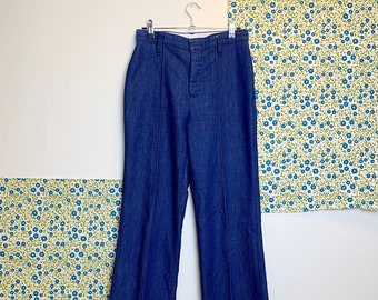 outlet store cd053 f1da9 Vintage 1970s Denim High Waist Bell Bottoms   H Bar C California Ranchwear    Prairie, Hippie, Bohemian   Sz Sm-Med