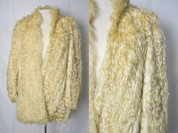 Vintage 1970s Curly Lamb Fur Coat, Vintage Stateme