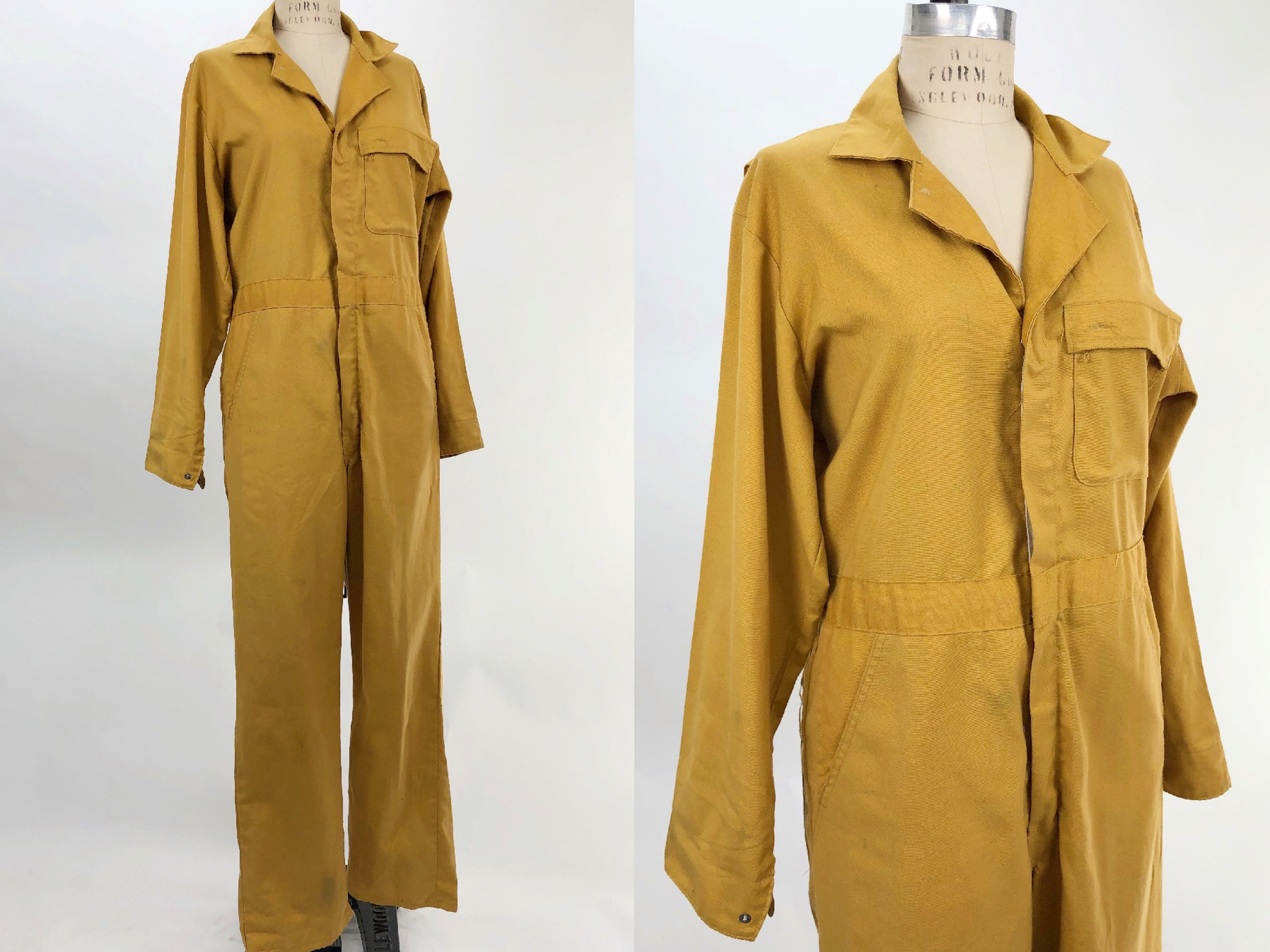 1940s Men's Shirts, Sweaters, Vests Vintage 1940S Mustard Yellow Utility Coveralls, 40S Menswear, Workwear, Mens Jumpsuit, Military, Size Large $45.00 AT vintagedancer.com