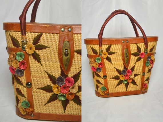 Vintage 1950s Floral Wicker and Leather Hand Bag,