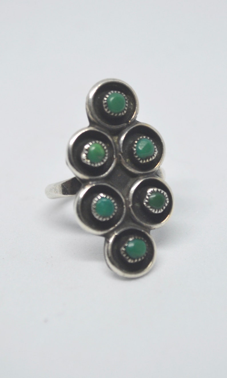 Vintage Sterling Silver and Turquoise Snake Eye Shadow Box Ring Size 7 34