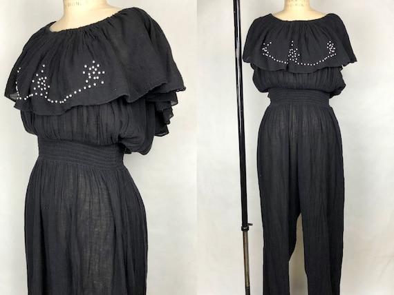Vintage Late 1970s Sheer Black Gauze Jumpsuit by C
