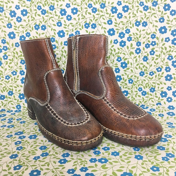 Vintage 1970s Gallenkamp Leather and Wood Ankle Bo