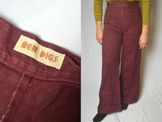 Vintage 1970s RARE Burgundy Super High Waisted Bel