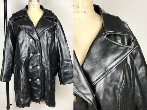Vintage 1960s Miss Holly Vinyl Black Scooter Coat,