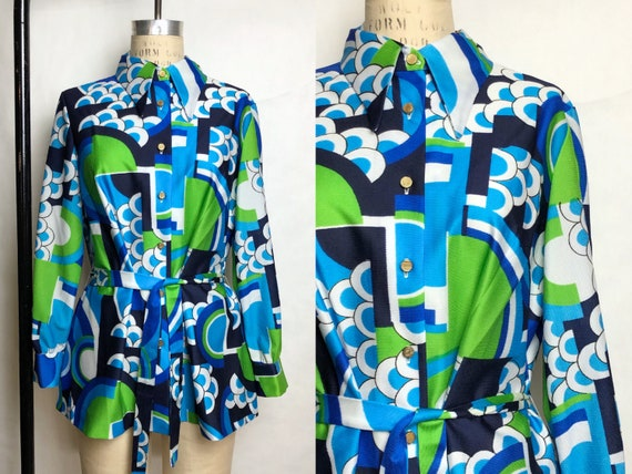 Vintage 1960s Psychedelic Print Blouse w/ Matching
