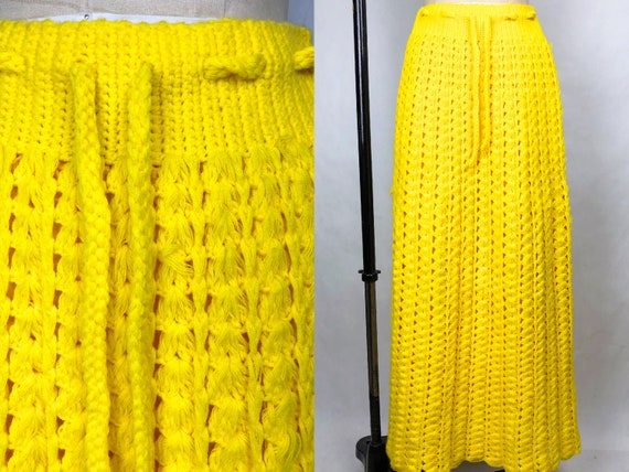 Vintage 1970s Hand Crocheted Yellow Maxi Skirt, Bo
