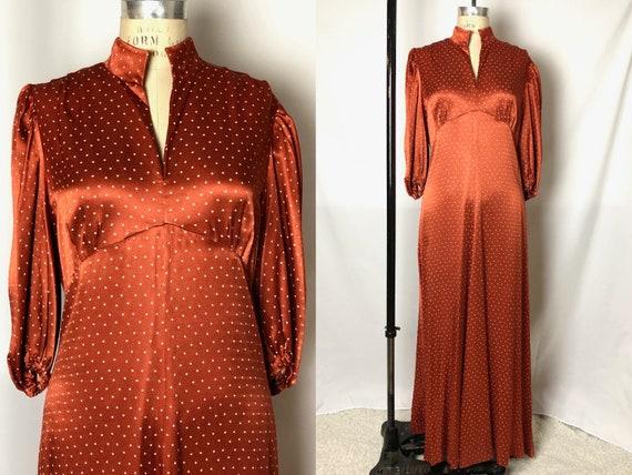 Vintage 1970s Does 1930s Burnt Orange Maxi Bias Cu