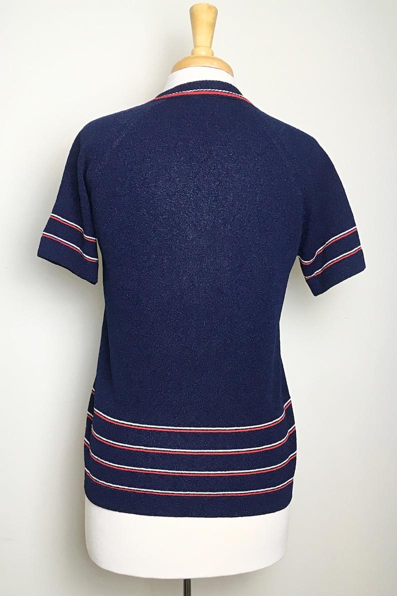 Sz Medium Vintage 1950s Blue V-Neck Blouse with Stripe Designs Mod Rockabilly Minimalist 1950s 50s Secretary
