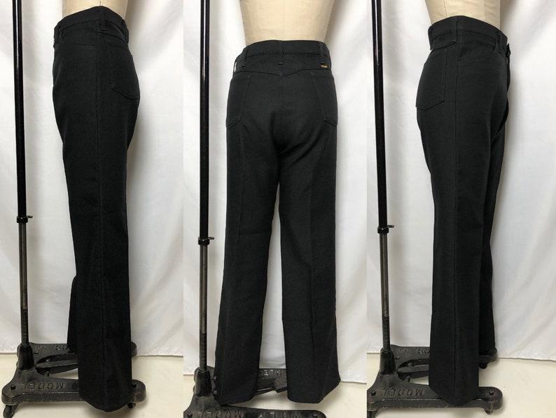 Made in The USA Vintage 1970s Black Perma Press Wrangler Pants 70s Mens Vintage Mens 38 Waist