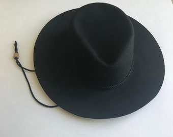 a1a1f523be8 Black Wide Brim Wool Fedora Hat
