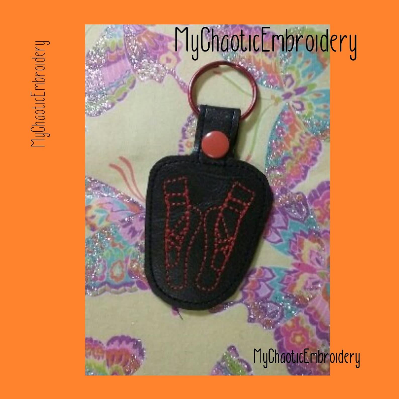 ballerina dancer ballet shoes 4x4 keyfob key fob ring designs - digital file machine embroidery design