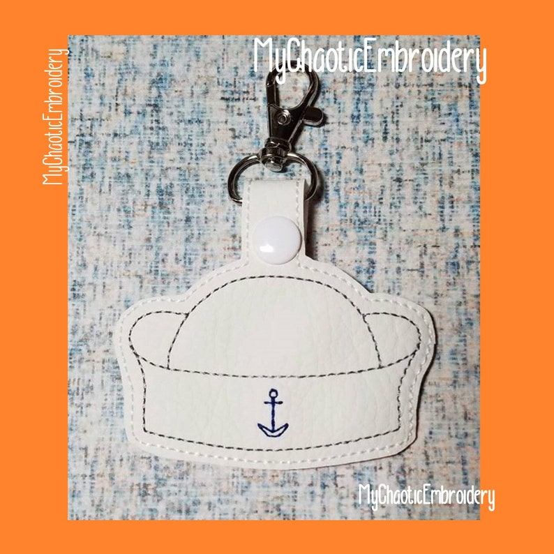 Navy We are the Mighty Dixie Cup Sailor Hat 4x4 Key Fob Ring Designs -  Digital file machine embroidery design