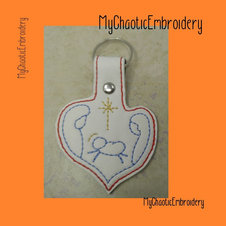 Christian Jesus Heart-shaped Holy Family Nativity 4x4 Keyfob Key Fob Ring  Design - Digital file machine embroidery design