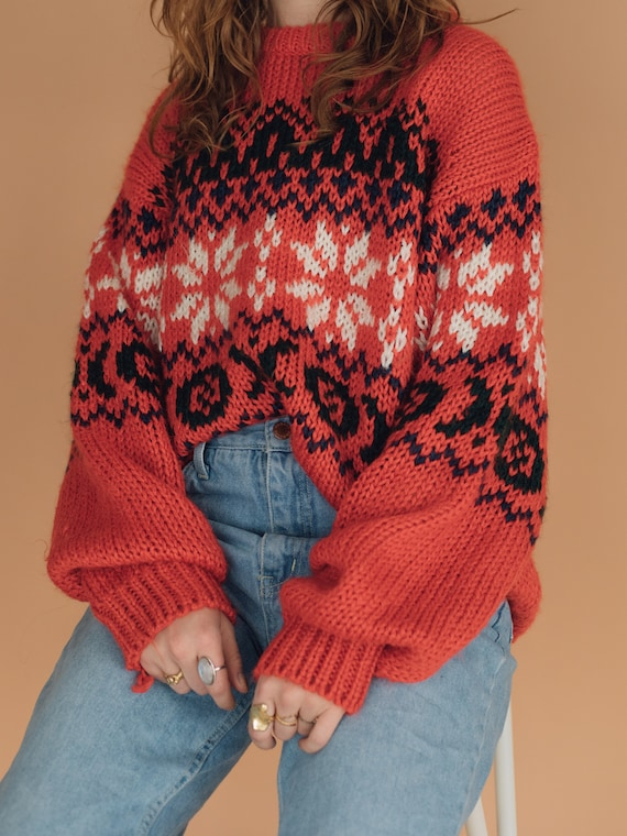 Red Hand Knit Patterned Sweater