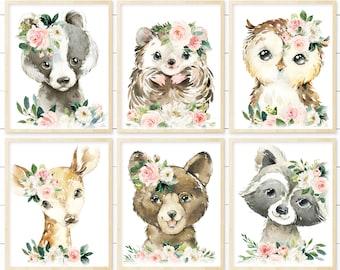 Printable Girl Woodland Nursery Floral Animal Wall Art. Baby Girl Nursery Art. Printable Boho Nursery Art. Nursery Decor. Blush Pink Floral.