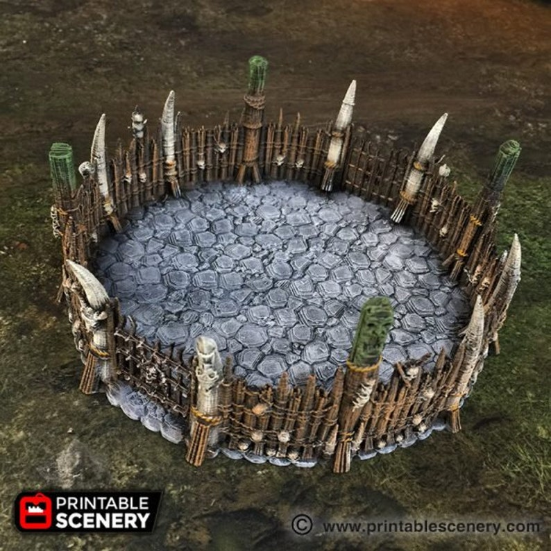 DnD Orc Fighting Pits Arena 28mm Tabletop Barbarian Tribal image 0