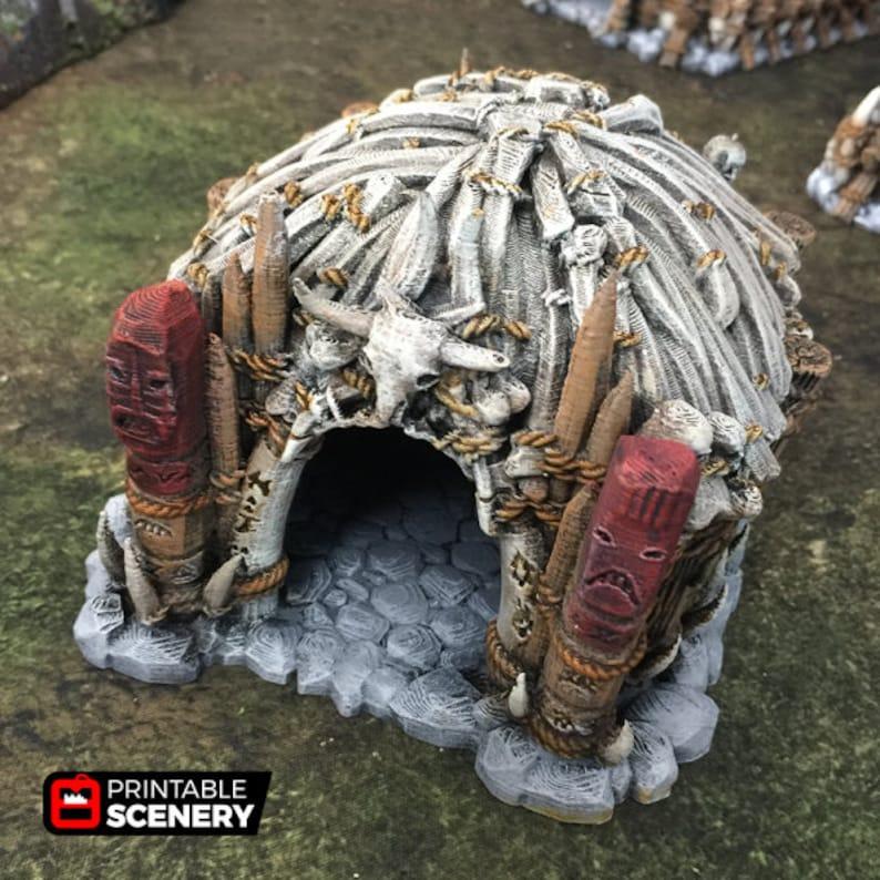 dnd Orc Tribal Shaman's Hut Warhammer Tabletop Barbarian image 0