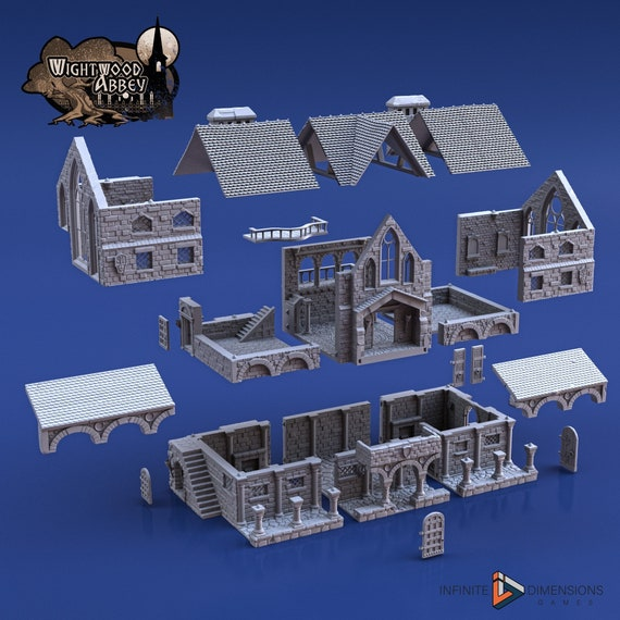 dnd Scriptorium Monastery Tabletop Scatter Terrain Wightwood Abbey RPG Warhammer D/&D Dungeons and Dragons Wargaming RPG Games