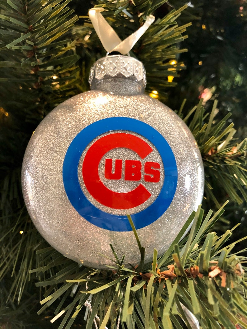 glitter ornament Chicago Cubs Christmas Ornament Cubs Christmas Ornament