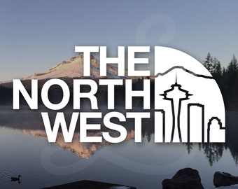 PNW The North West Seattle Washington Skyline Space Needle Decal. Decal Only. For Car Windows, Door Panels, Laptops, Water Bottles, Etc.
