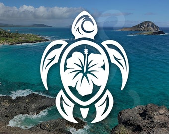 Hibiscus Honu Sea Turtle Decal. Decal Only. For Car Windows, Surf Boards, iPads, Laptops, Water Bottles, Coffee Mugs Etc.