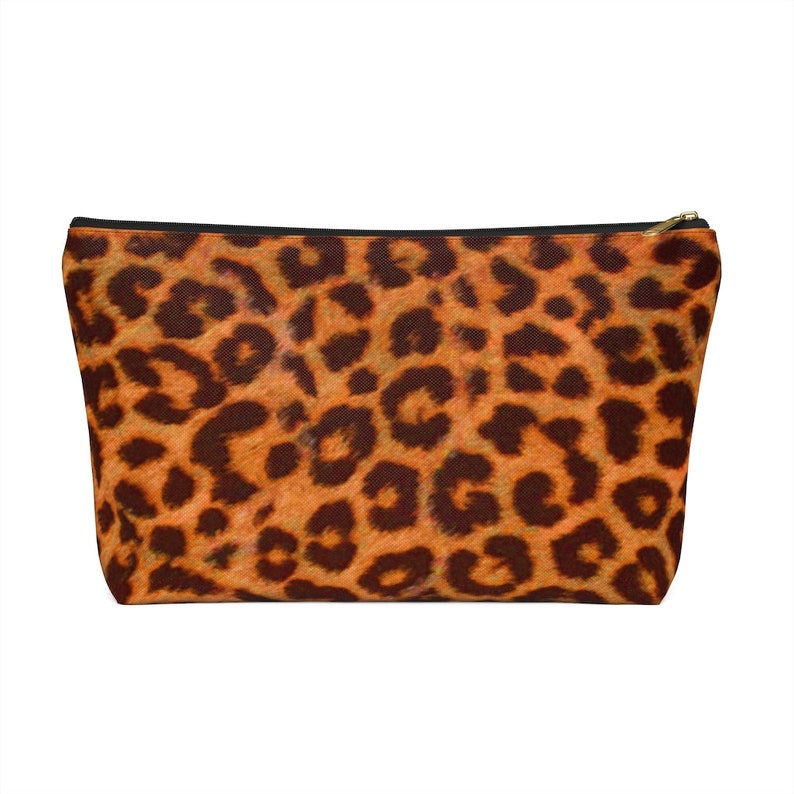 Accessory Pouch w T-bottom Leopard Make up Bag Leopard Print Animal Print