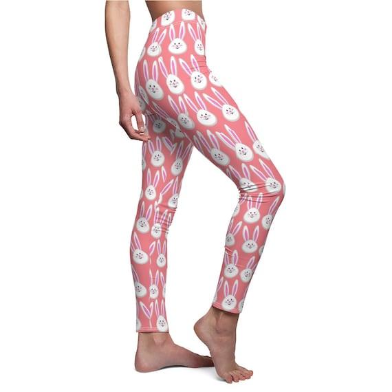 0e3276fcc505a Easter Bunny Leggings Pink and White Bunny Leggings | Etsy