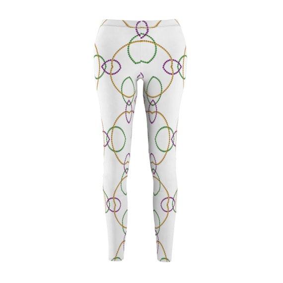 0c112fe8254f7 Mardi Gras Leggings White Legging with Mardi Gras Beads | Etsy