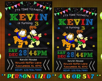 Garfield Birthday Invitation GarfieldInvitation Party Printable Instant Download