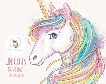 Unicorn clipart, Unicorn PNG illustration, Watercolor Unicorn Clip Art for Sublimation, Scrapbooking and Crafts, Watercolour Unicorn Drawing