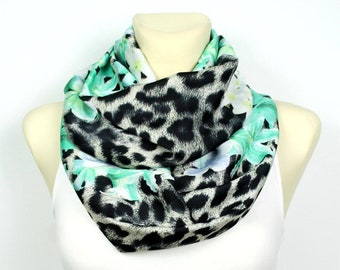 1dddae2480 Infinity Scarf for Women Leopard Print Loop Satin Silk Scarves Turquoise  Circle Winter Fashion Accessories Christmas Unique Gifts for Her