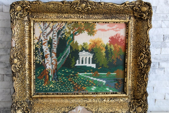 Summer needlepoint,Summer cross stitch,Vintage summer wall art,Vintage forest wall art,Unframed Wiehler gobelin Summer forest 9.5x 7.5
