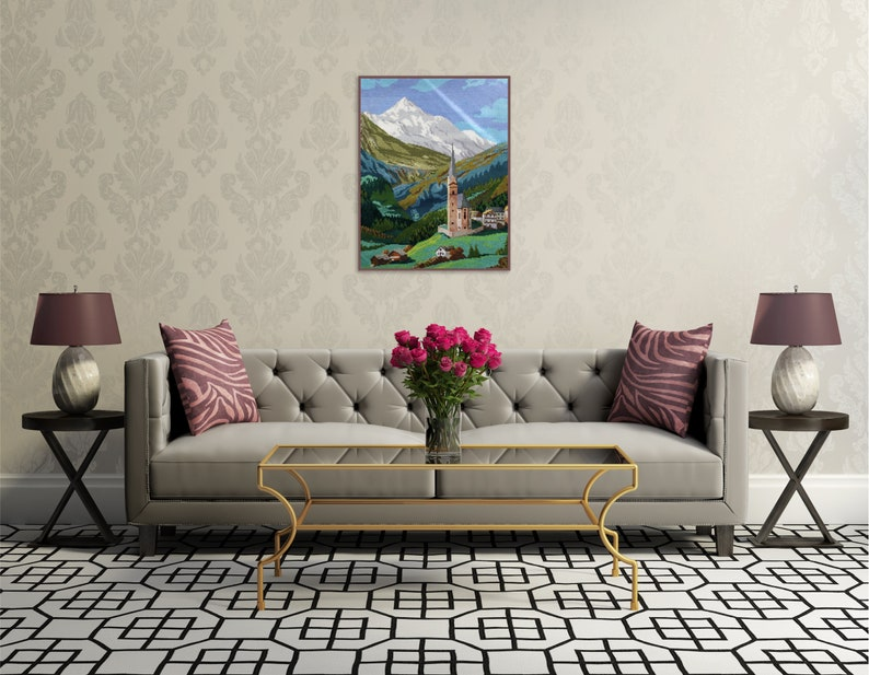 Mountain wall art Wiehler gobelin Mountain landscape 19x14 Unframed Completed cross stitch Vintage handmade tapestry Alps landscape