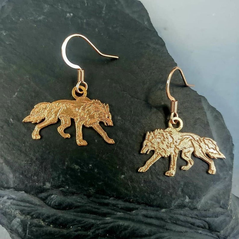 zodiac earrings wolf gifts gift for her wolf jewelry gifts Celtic wolf earrings wolf design Geri and Freki Irish Wolf Earrings