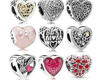 EverReena Beads Fashion Love Valentine HeartCharm for Silver Bracelets
