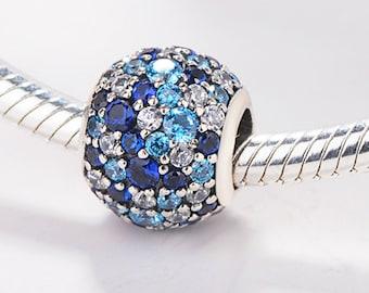 09d39107d 1pcs Authentic Pandora,Bracelet Charms,CZ Blue Pandora Charm 925 Sterling  Sliver Spacer Bead Fits Pandora Bracelet