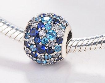 f33ffa4b2 1pcs Authentic Pandora,Bracelet Charms,CZ Blue Pandora Charm 925 Sterling  Sliver Spacer Bead Fits Pandora Bracelet