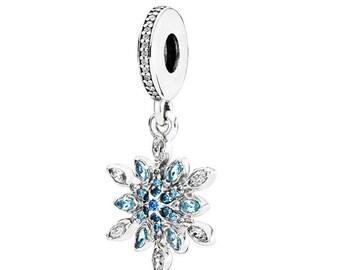 91c20ee5f Genuine 100% 925 Sterling Silver Charm, CZ Bead Charm,Blue Snowflake Charm  925 Sterling Sliver Spacer Bead Fits Pandora Bracelet