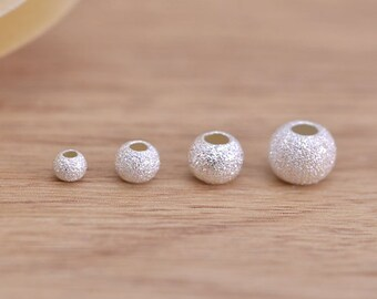 3,4,5,6mm Multi Sizes 925 Sterling Silver Stardust Round Beads Satin Silver Spacer Beads