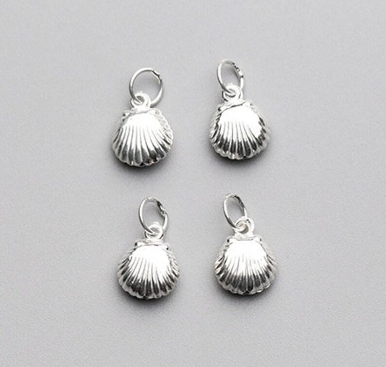 4Pcs 10\u00d78mm Sterling Silver Clam Shell Charms 925 Silver Seashell Charm