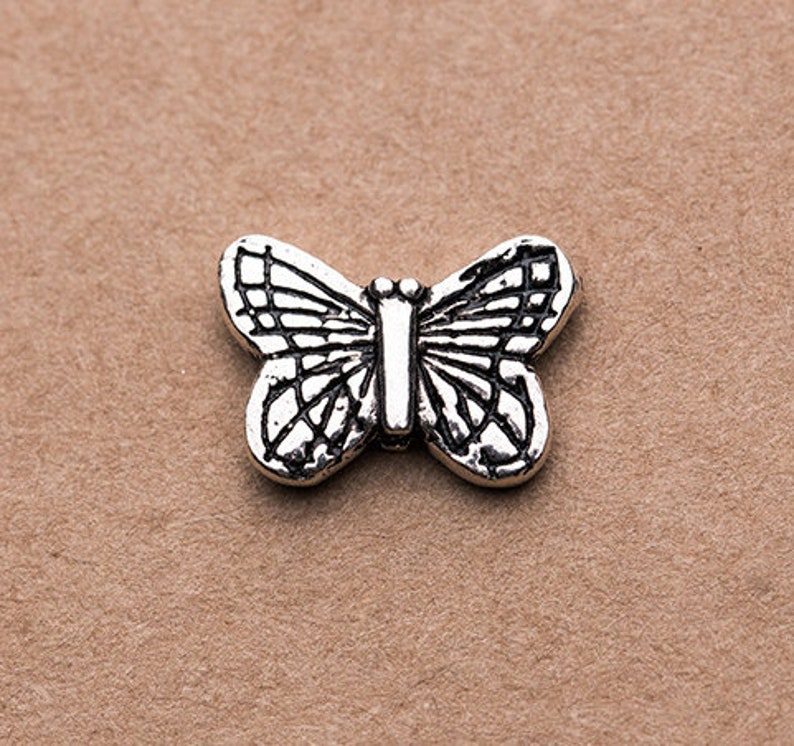 2 Pcs Sterling Silver Butterfly Beads 925 Solid Silver Butterfly Spacer