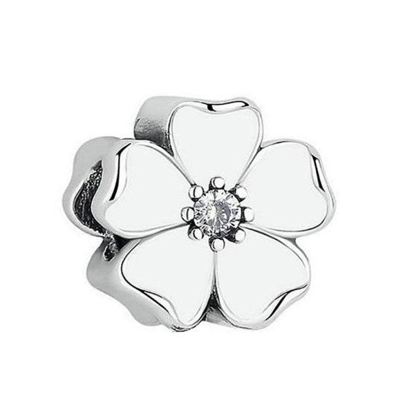 BEAUTIFUL GENUINE STERLING SILVER PINK FLOWER MAGNOLIA BLOOM EARRINGS,UK SELLER
