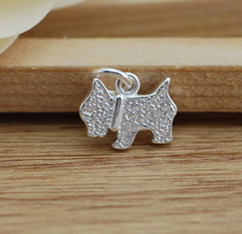 4 Pcs 12\u00d79mm Sterling Silver Dog Charm 925 Solid Silver Scottie Dog Pendant